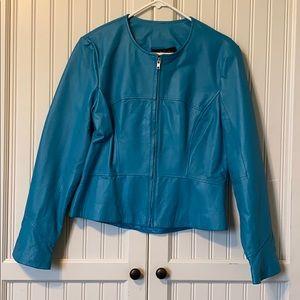 Leather aqua blue jacket.